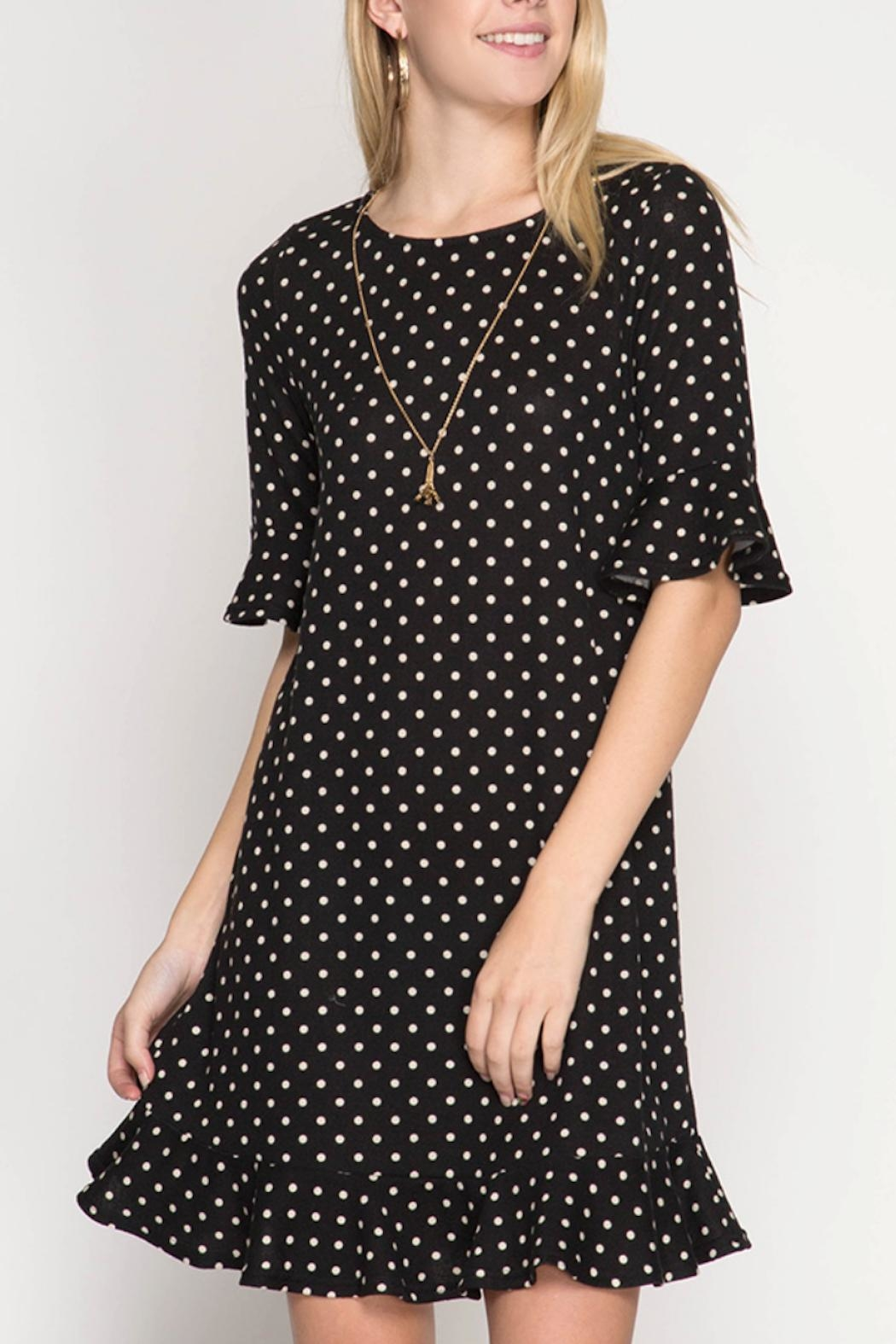 She + Sky Polka Dot Dress - Main Image