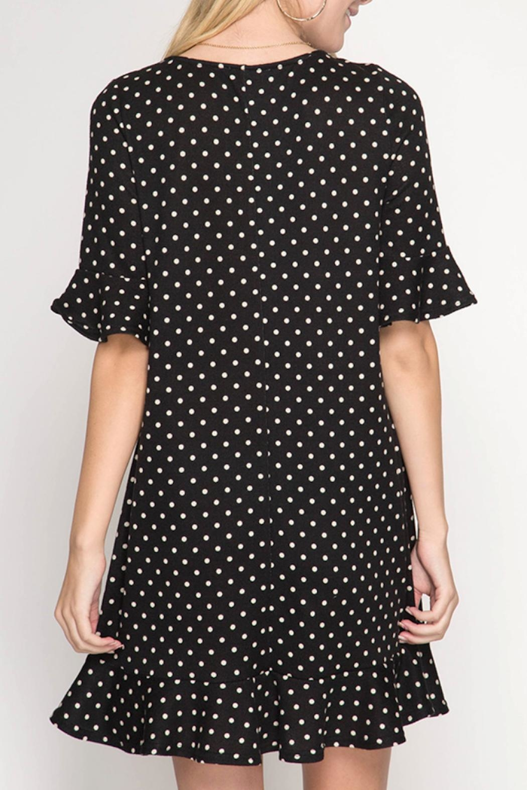 She + Sky Polka Dot Dress - Side Cropped Image
