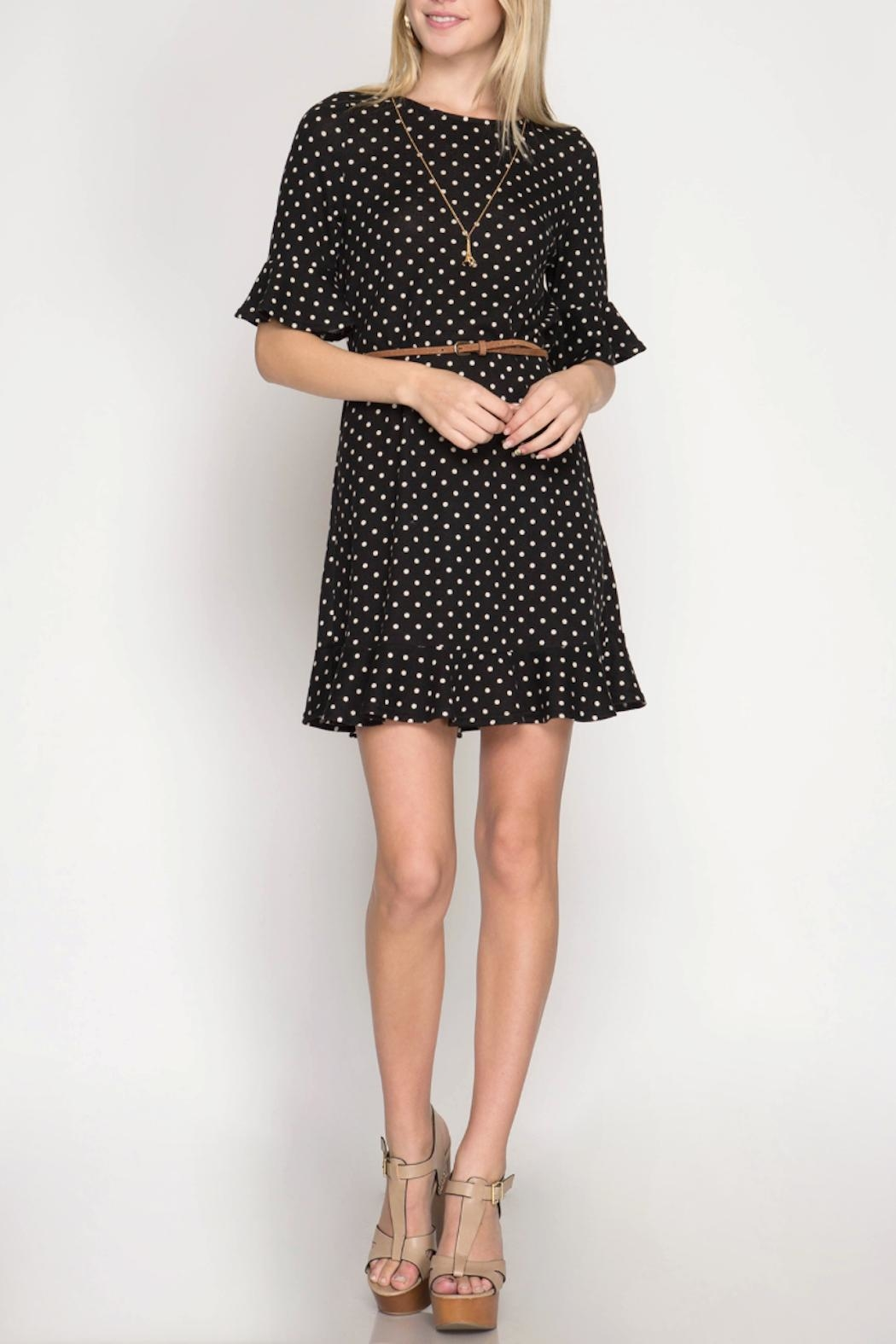 She + Sky Polka Dot Dress - Front Full Image