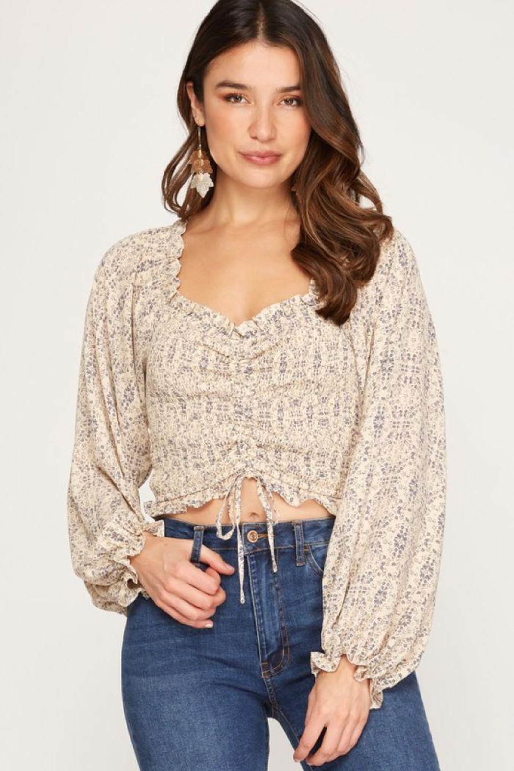 She + Sky Print Smocked Rouched Detail Top - Front Full Image