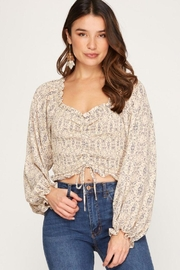 She + Sky Print Smocked Rouched Detail Top - Front full body