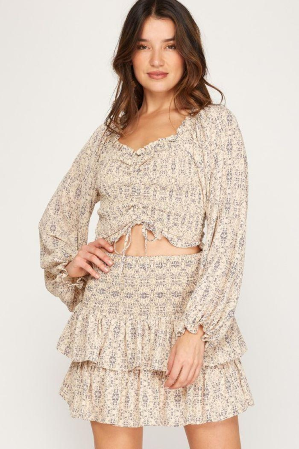 She + Sky Print Smocked Rouched Detail Top - Front Cropped Image