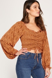 She + Sky Print Smocked Rouched Detail Top - Side cropped