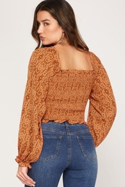 She + Sky Print Smocked Rouched Detail Top - Back cropped