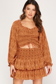 She + Sky Print Smocked Rouched Detail Top - Other