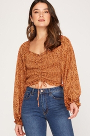 She + Sky Print Smocked Rouched Detail Top - Product Mini Image
