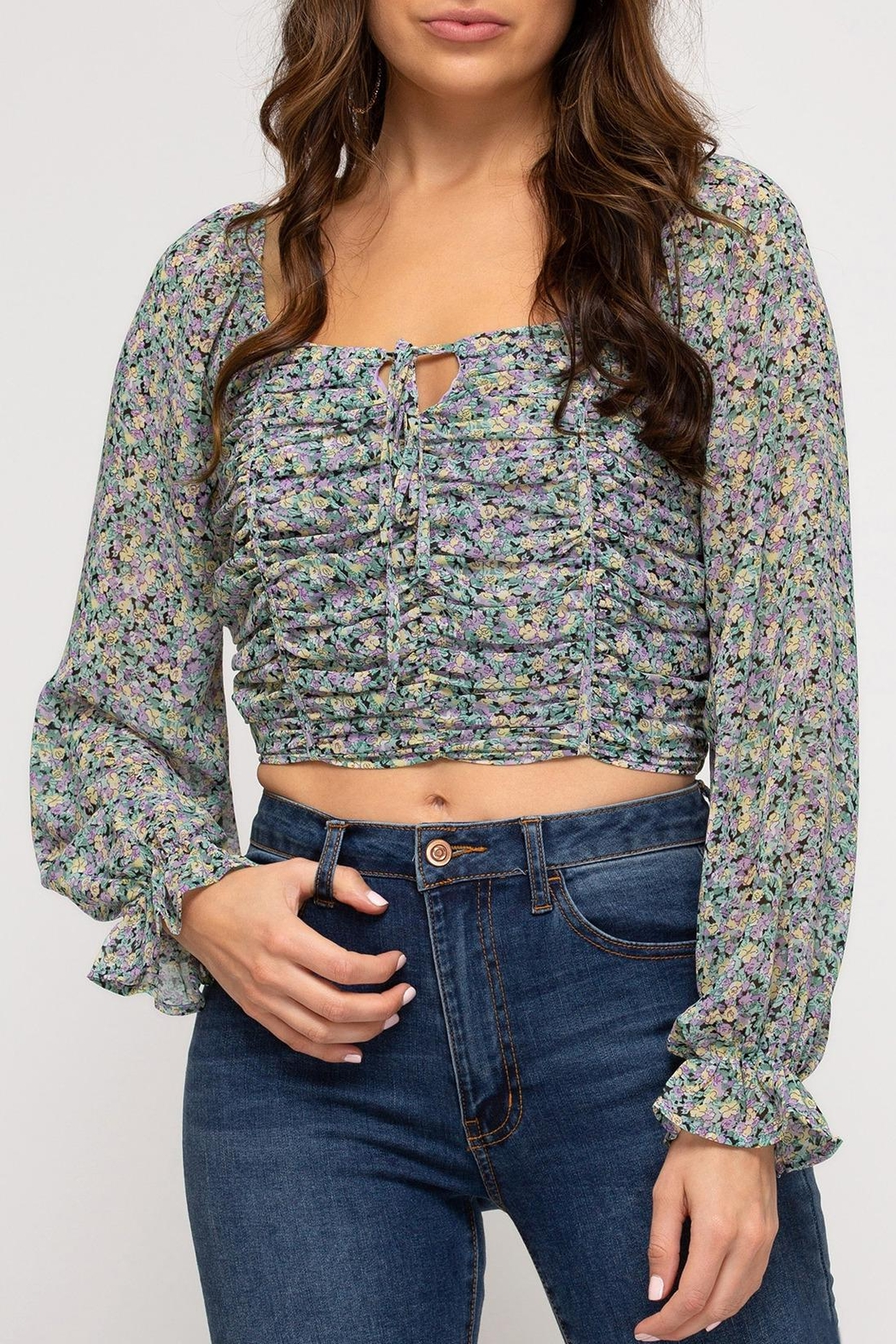 She + Sky Provence Floral Top - Main Image