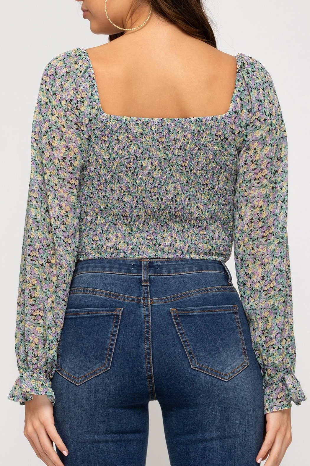 She + Sky Provence Floral Top - Front Full Image