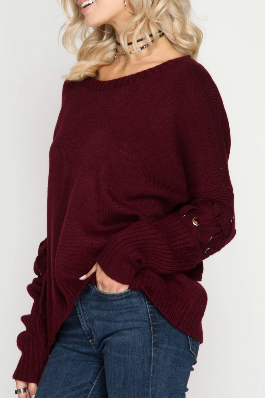 She + Sky Pullover Sweater - Side Cropped Image