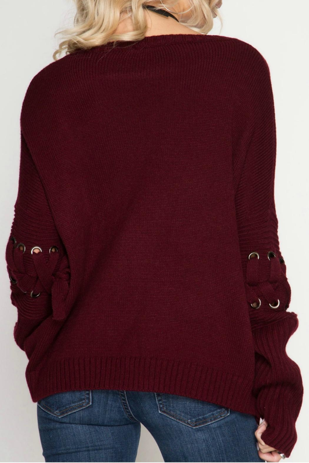 She + Sky Pullover Sweater - Back Cropped Image