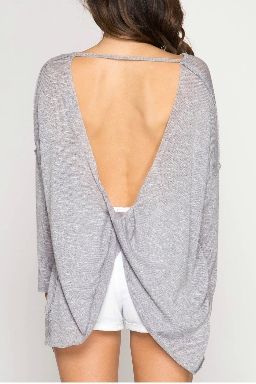 She + Sky Pullover Twisted Back - Side Cropped Image
