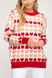She + Sky Red Heart Sweater - Product Mini Image