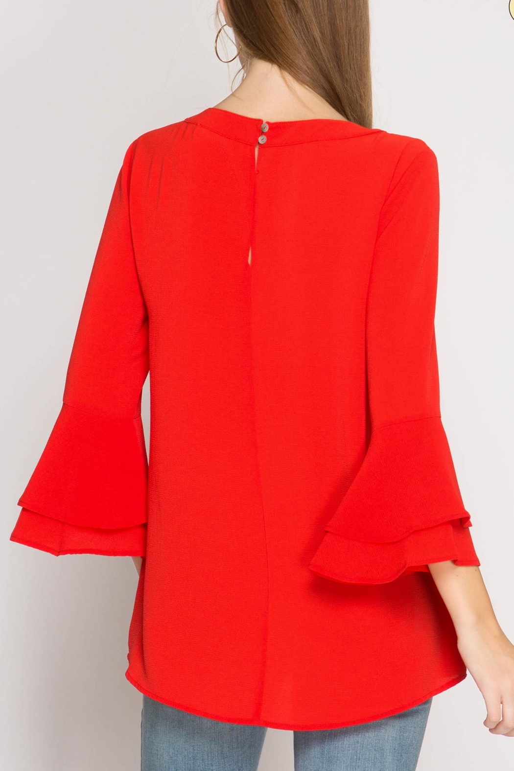 She + Sky Red Ruffle Blouse - Side Cropped Image