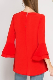 She + Sky Red Ruffle Blouse - Side cropped
