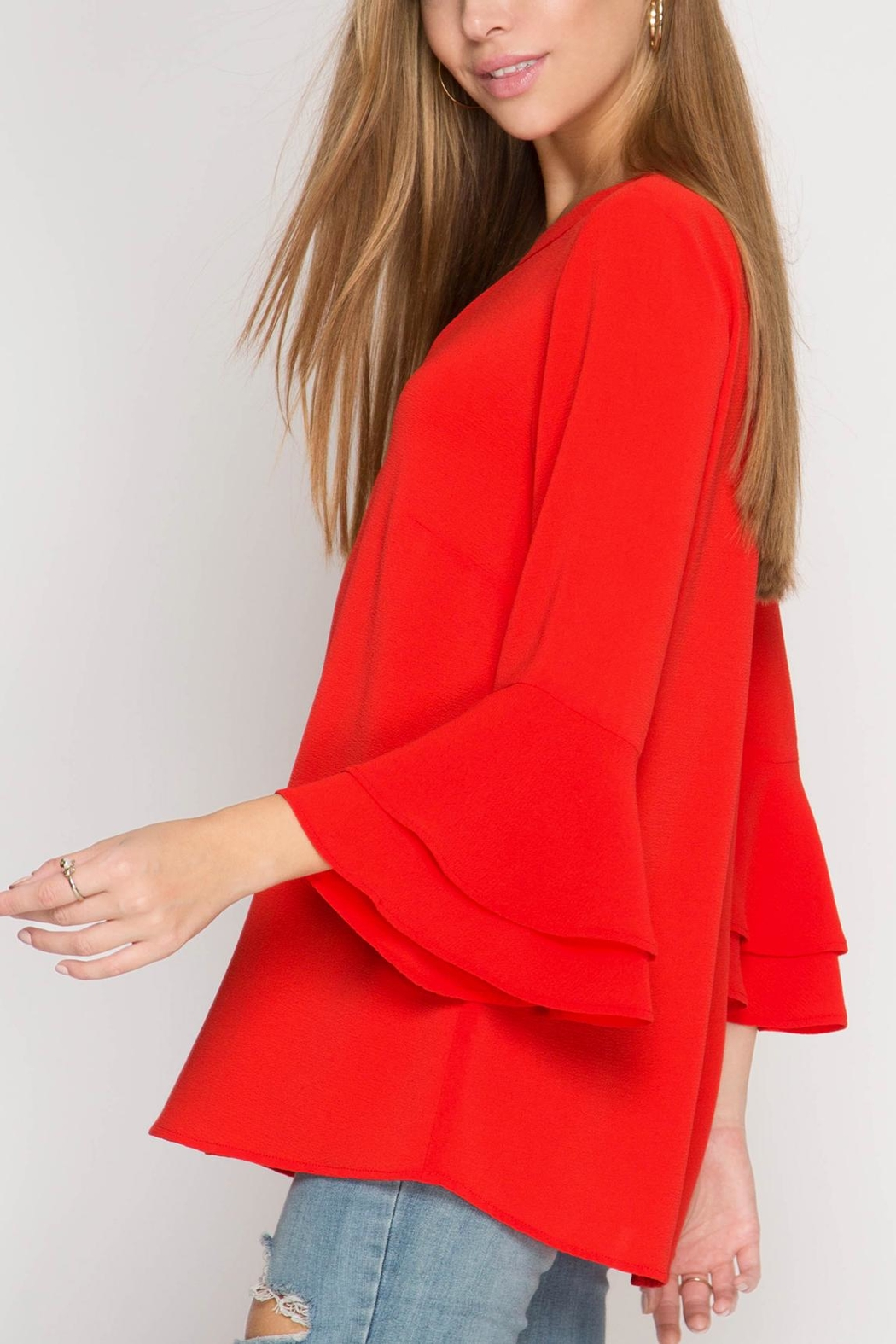 She + Sky Red Ruffle Blouse - Main Image