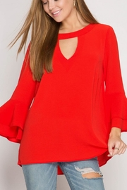 She + Sky Red Ruffle Blouse - Front cropped