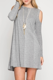 She + Sky Ribbed Cold Shoulder Dress - Product Mini Image