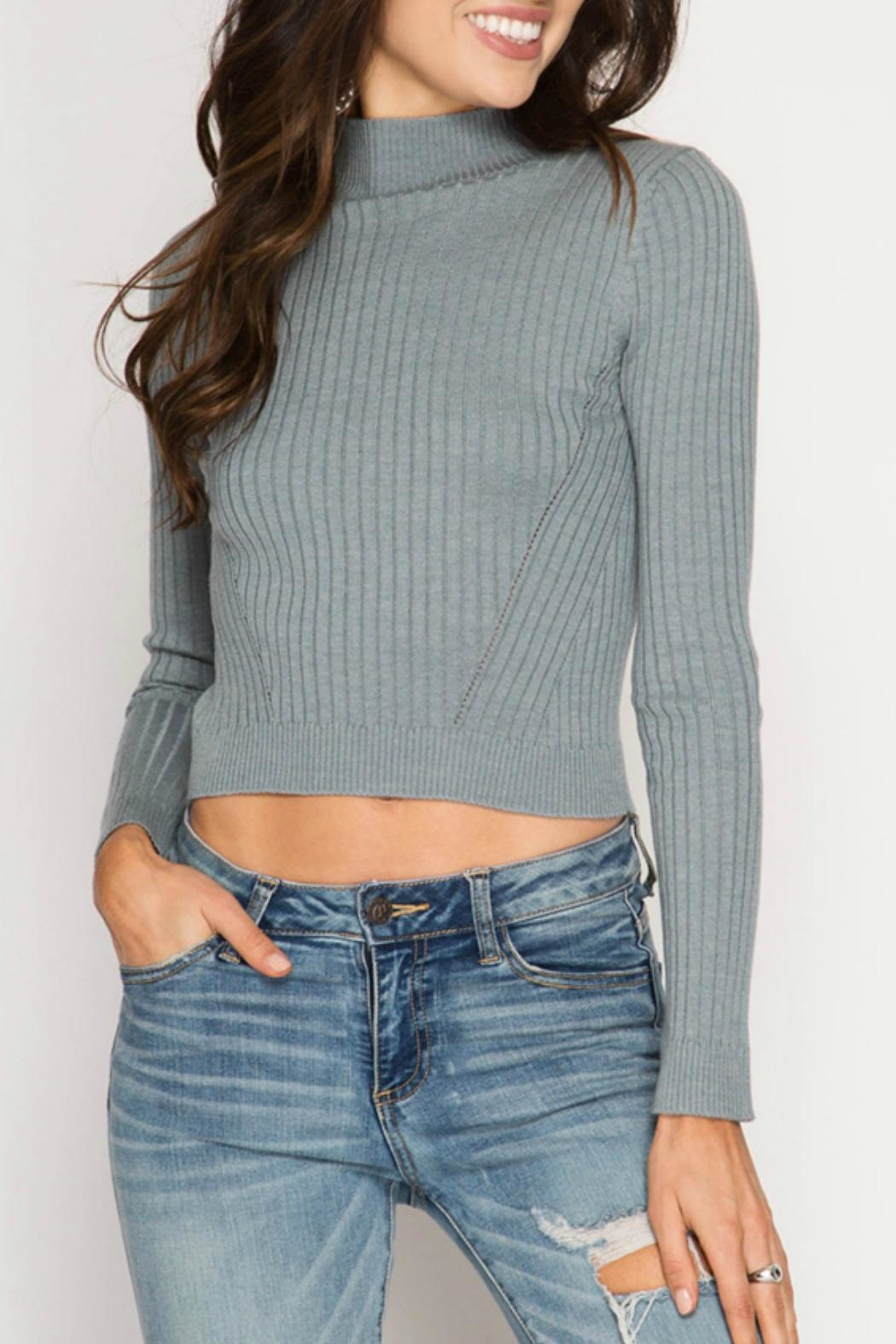 She + Sky Ribbed Crop Top - Front Cropped Image