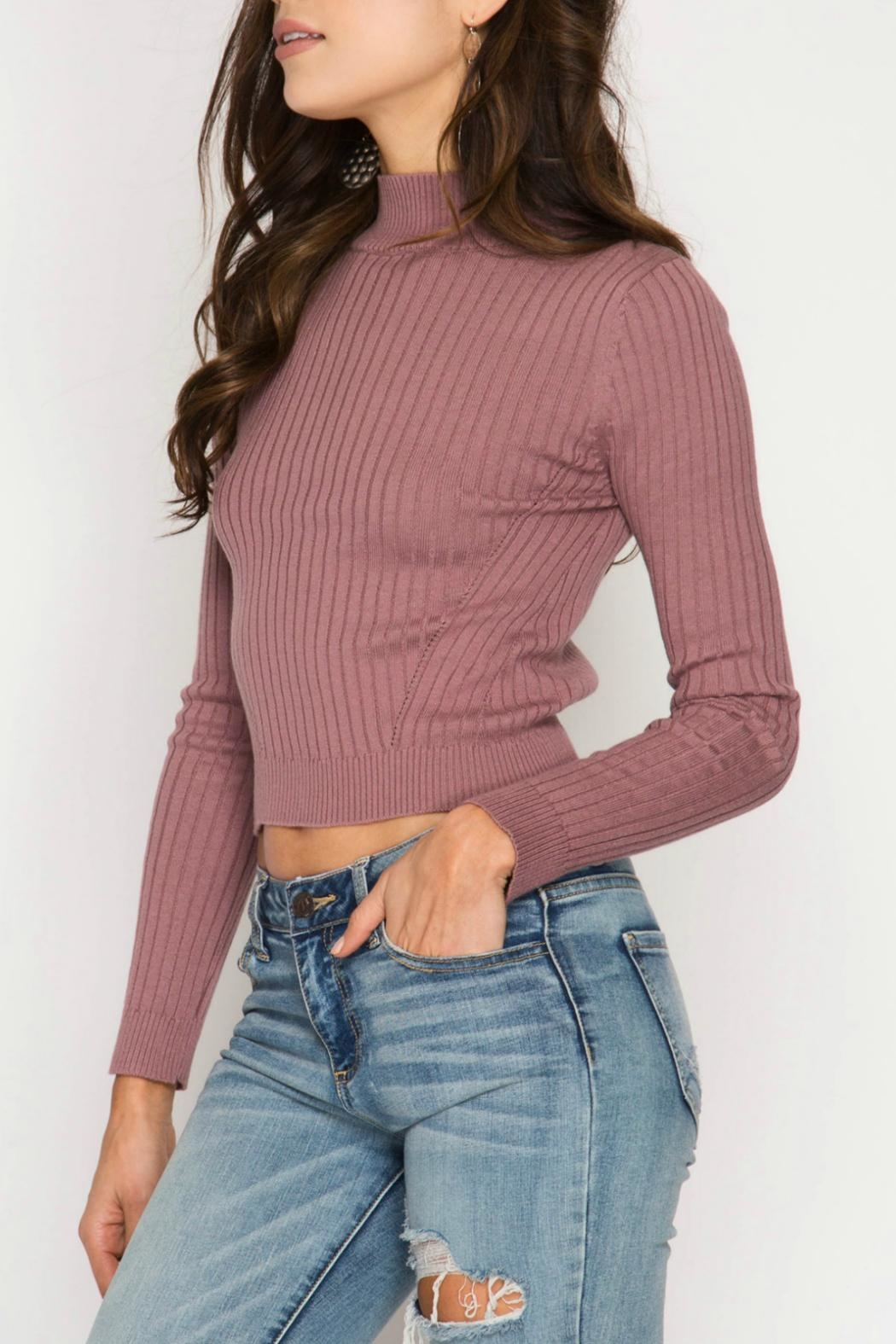 She + Sky Ribbed Crop Top - Front Full Image