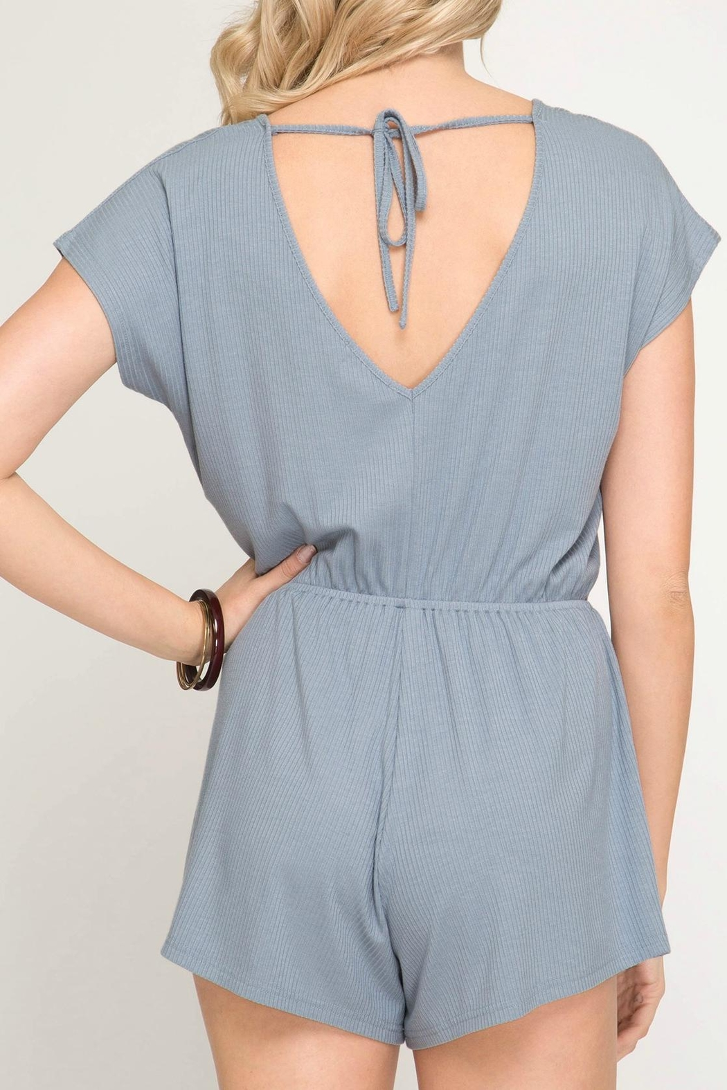 She + Sky Ribbed Drawstring Romper - Side Cropped Image