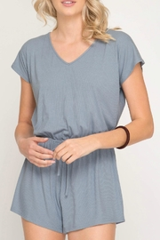 She + Sky Ribbed Drawstring Romper - Product Mini Image