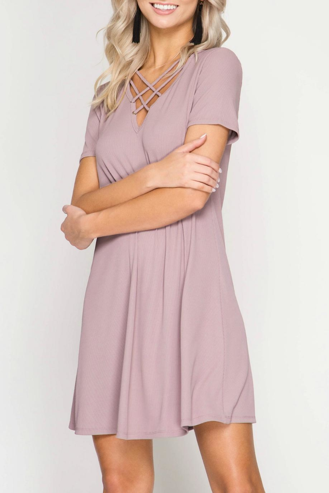 She + Sky Ribbed Dress - Front Cropped Image