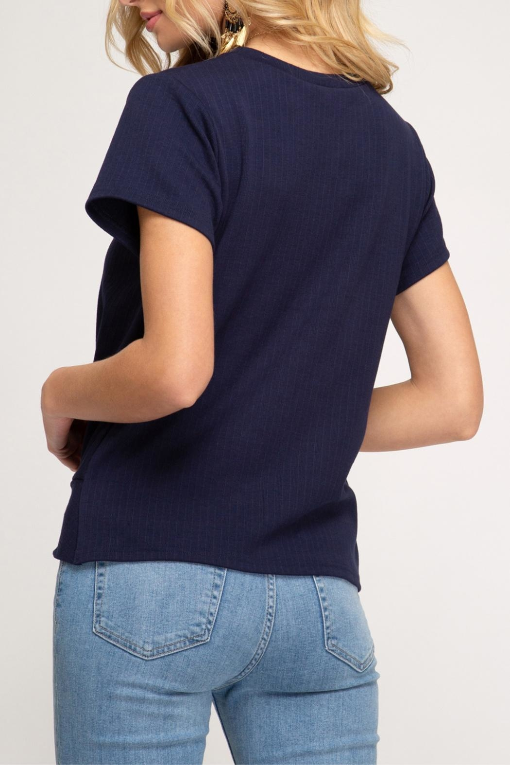 She + Sky Ribbed Knit Top - Front Full Image