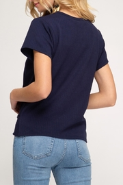 She + Sky Ribbed Knit Top - Front full body