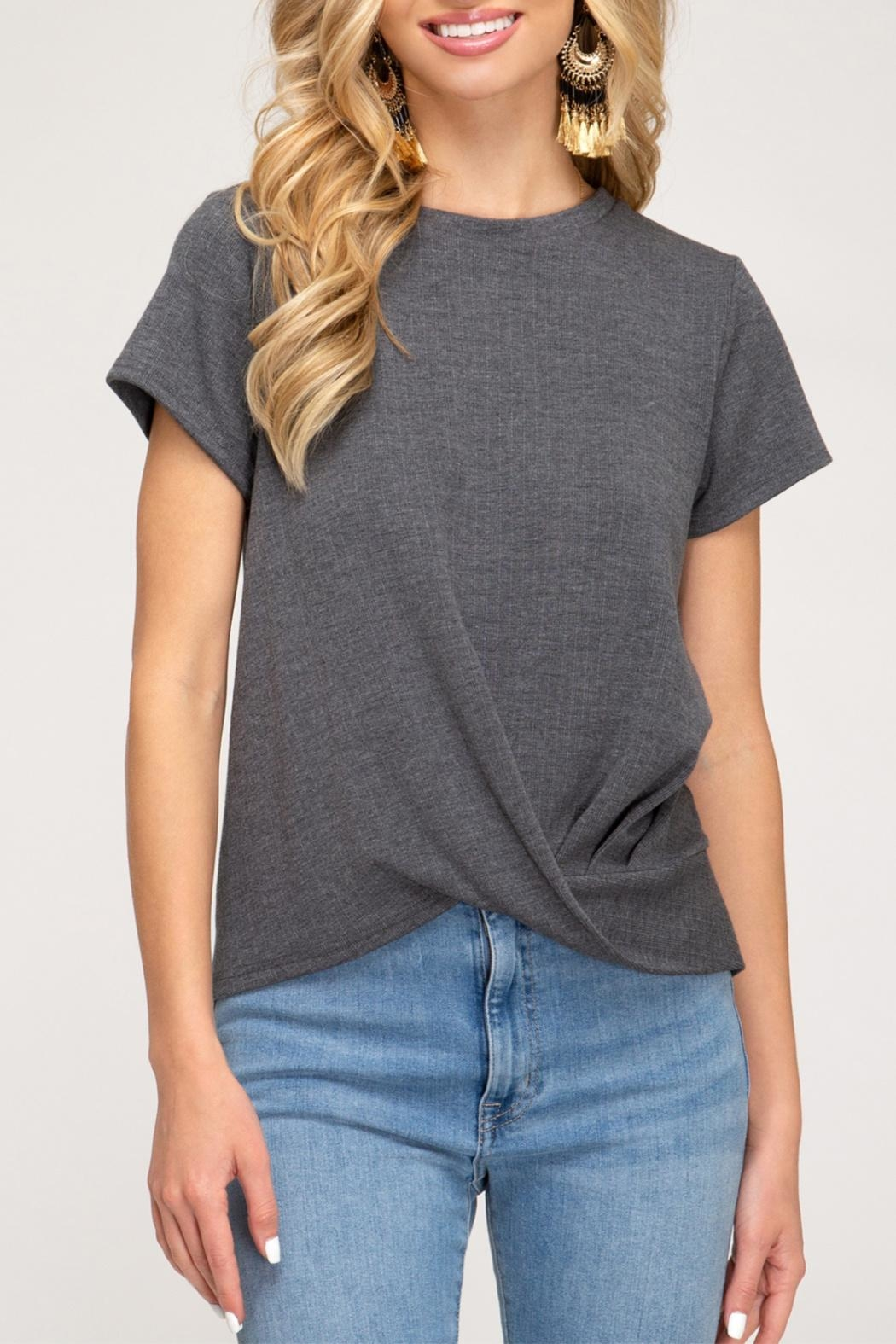 She + Sky Ribbed Knit Top - Front Cropped Image