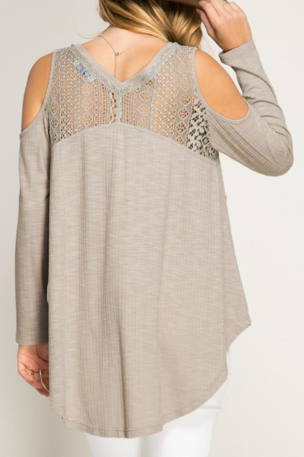 She + Sky Ribbed Lace  Top - Front Full Image