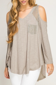 She + Sky Ribbed Lace  Top - Product List Image