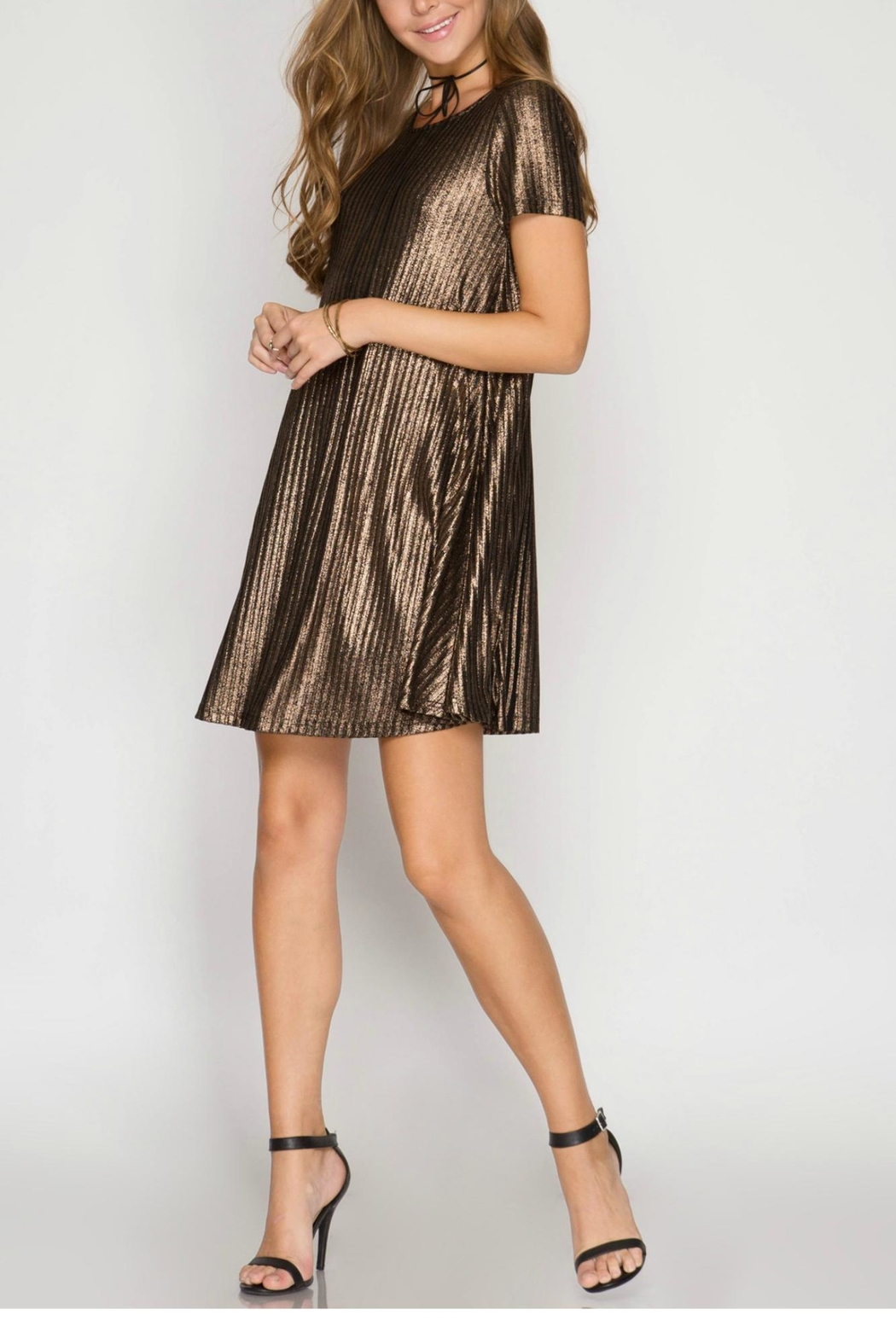 She + Sky Ribbed Metallic Dress - Front Cropped Image