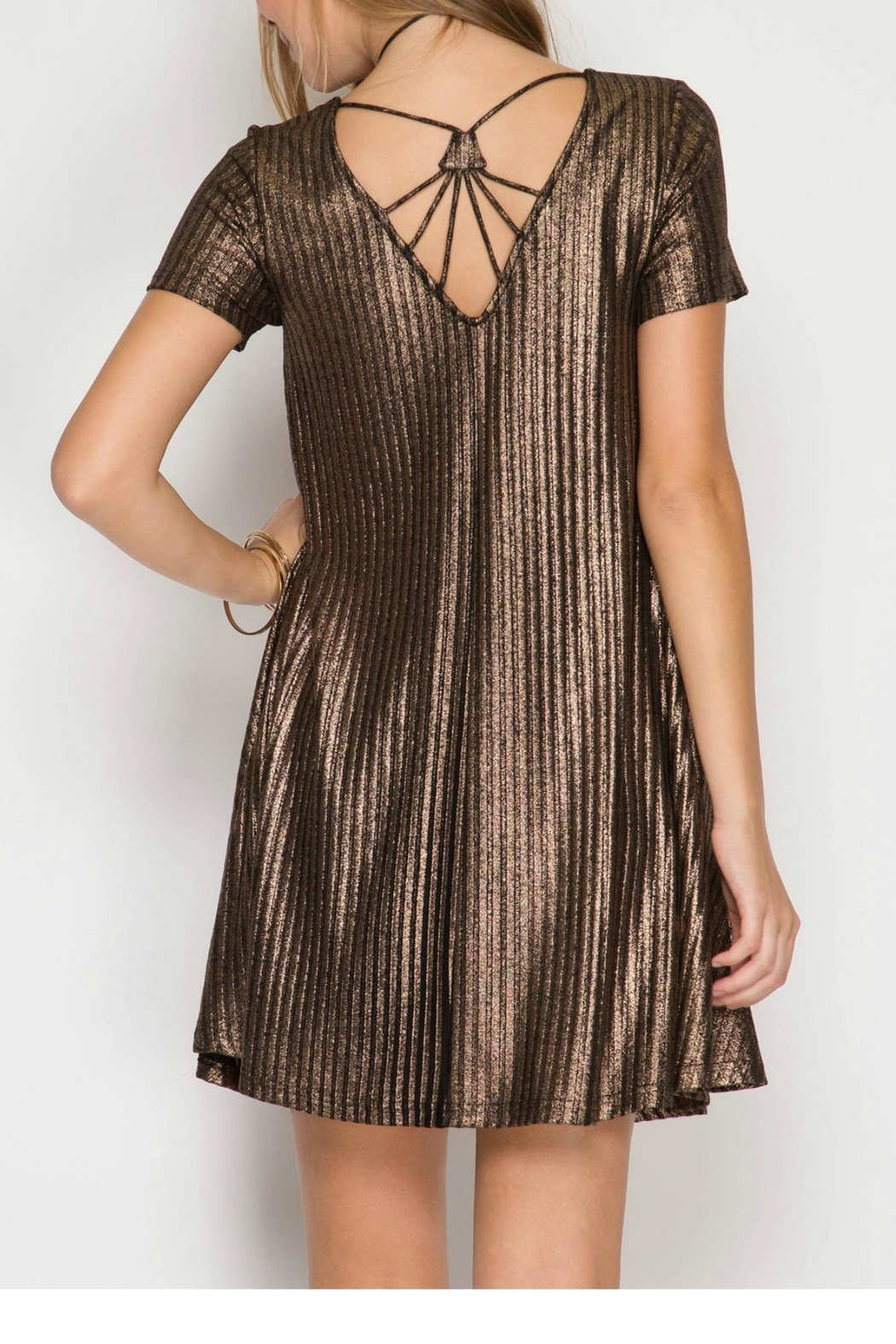 She + Sky Ribbed Metallic Dress - Front Full Image
