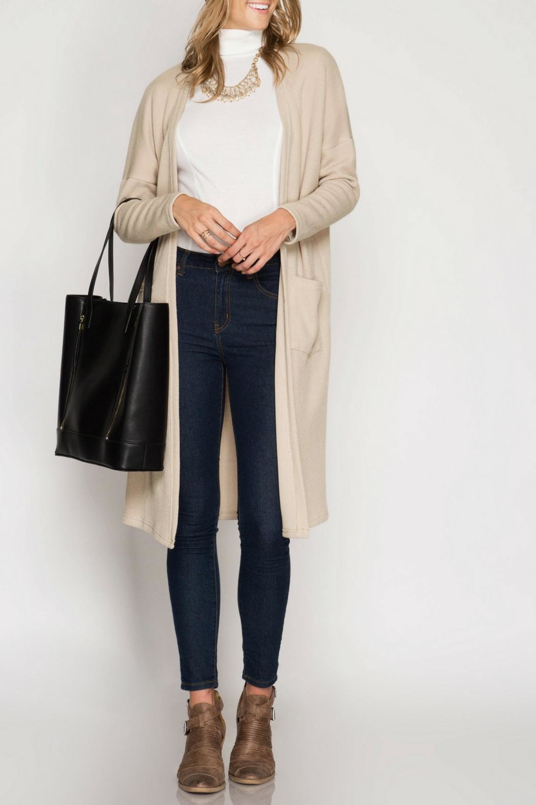 She + Sky Ribbed Midi Cardigan - Front Cropped Image