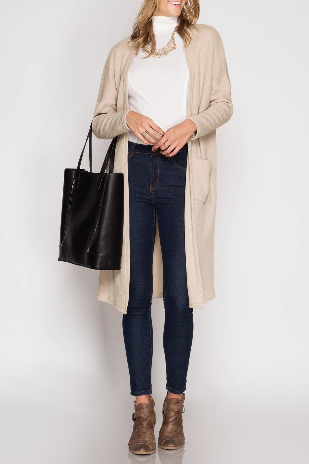 She + Sky Ribbed Midi Cardigan - Main Image