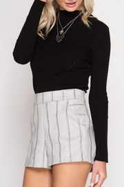 She + Sky Ribbed Mock-Neck Crop - Product Mini Image