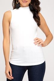 She + Sky Ribbed Mock Tank - Product Mini Image