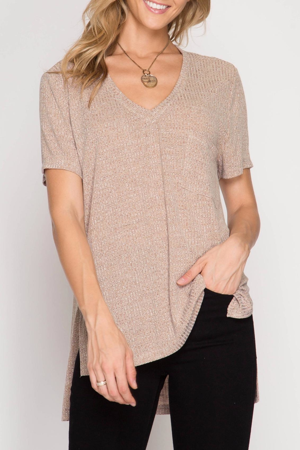 She + Sky Ribbed Pocket Tee - Front Cropped Image