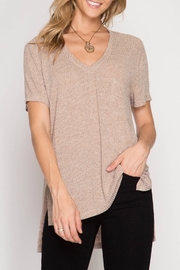 She + Sky Ribbed Pocket Tee - Front cropped