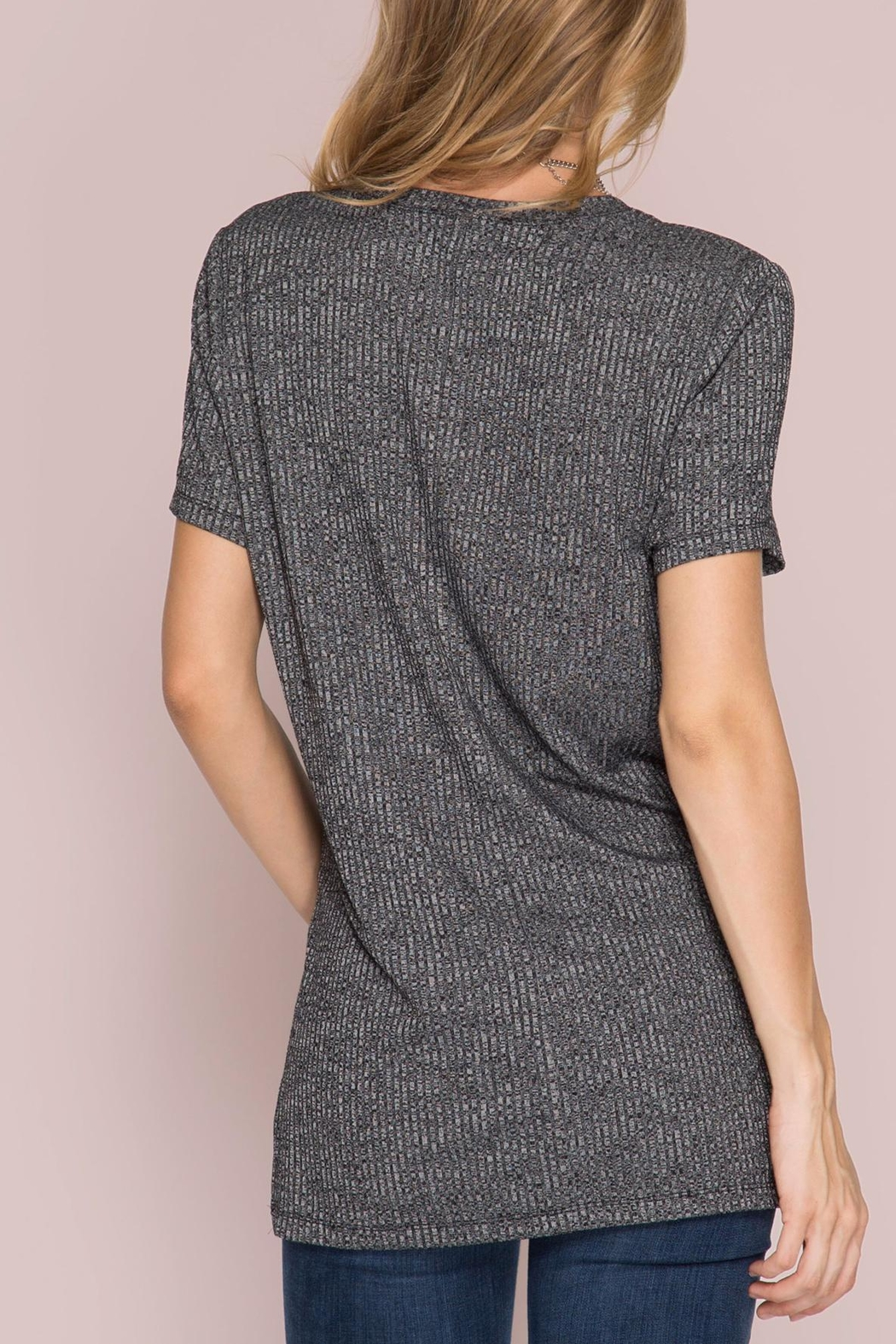 She + Sky Ribbed Pocket Top - Front Full Image