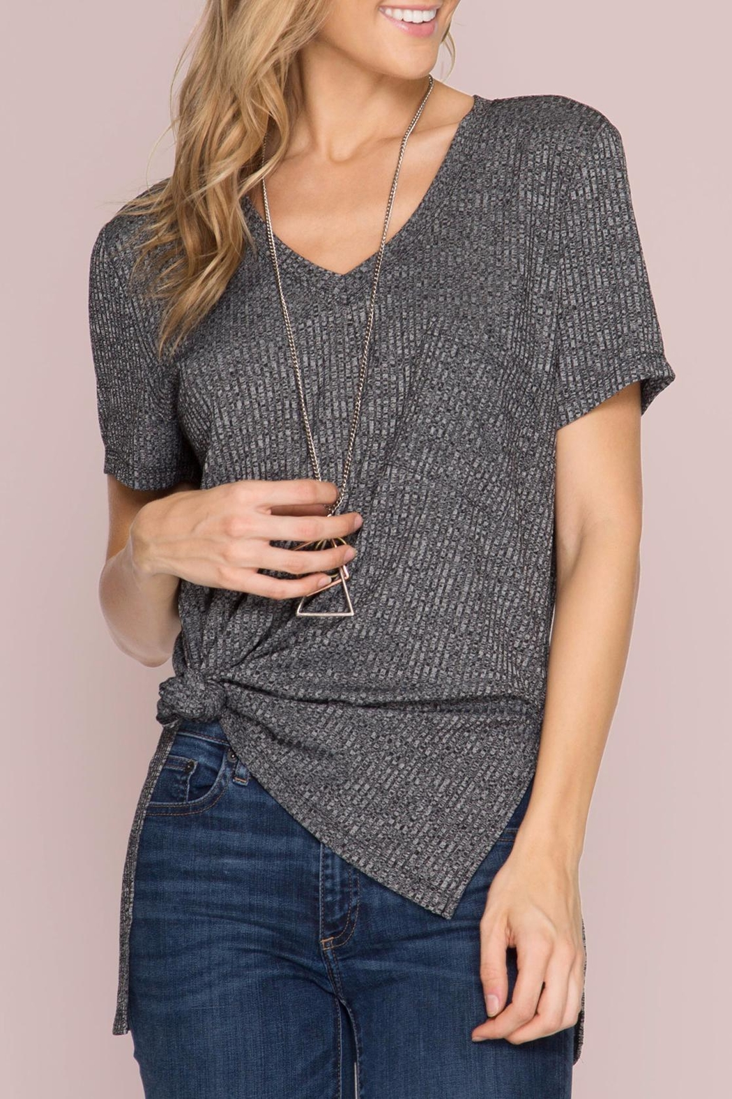 She + Sky Ribbed Pocket Top - Front Cropped Image