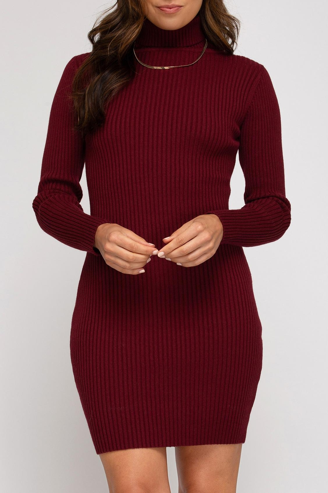 She + Sky Ribbed Sweater Dress - Front Cropped Image