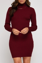 She + Sky Ribbed Sweater Dress - Front cropped