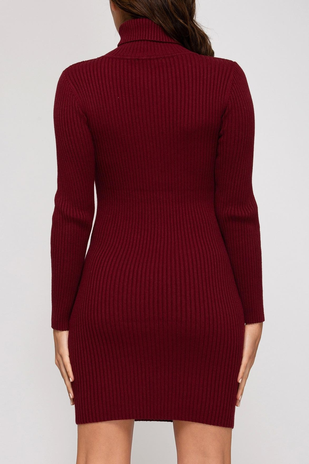 She + Sky Ribbed Sweater Dress - Front Full Image