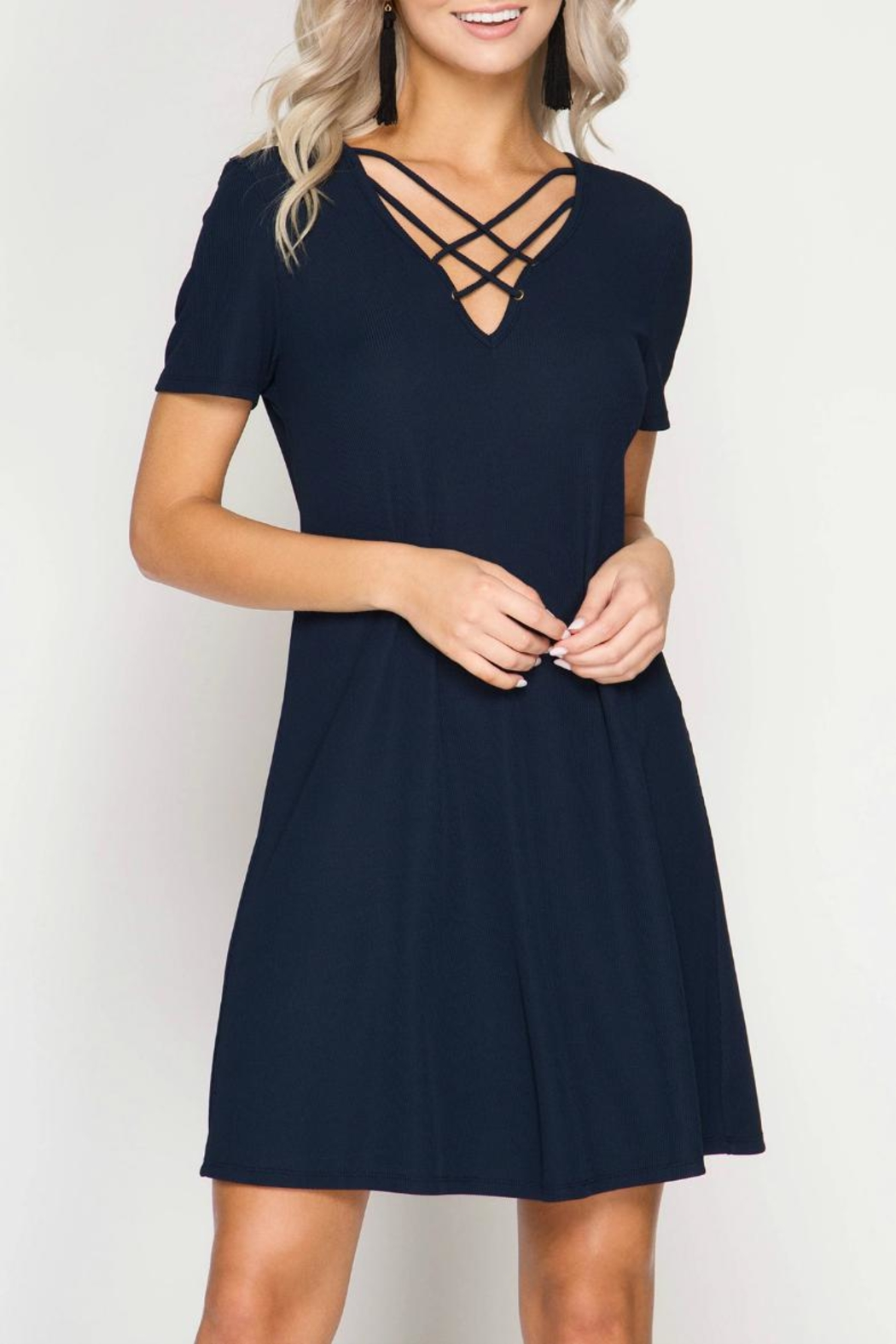 She + Sky Ribbed Swing Dress - Front Cropped Image