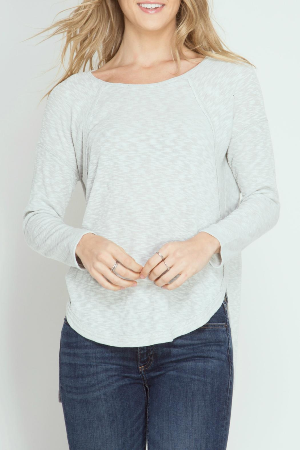 She + Sky Ribbed Top - Main Image