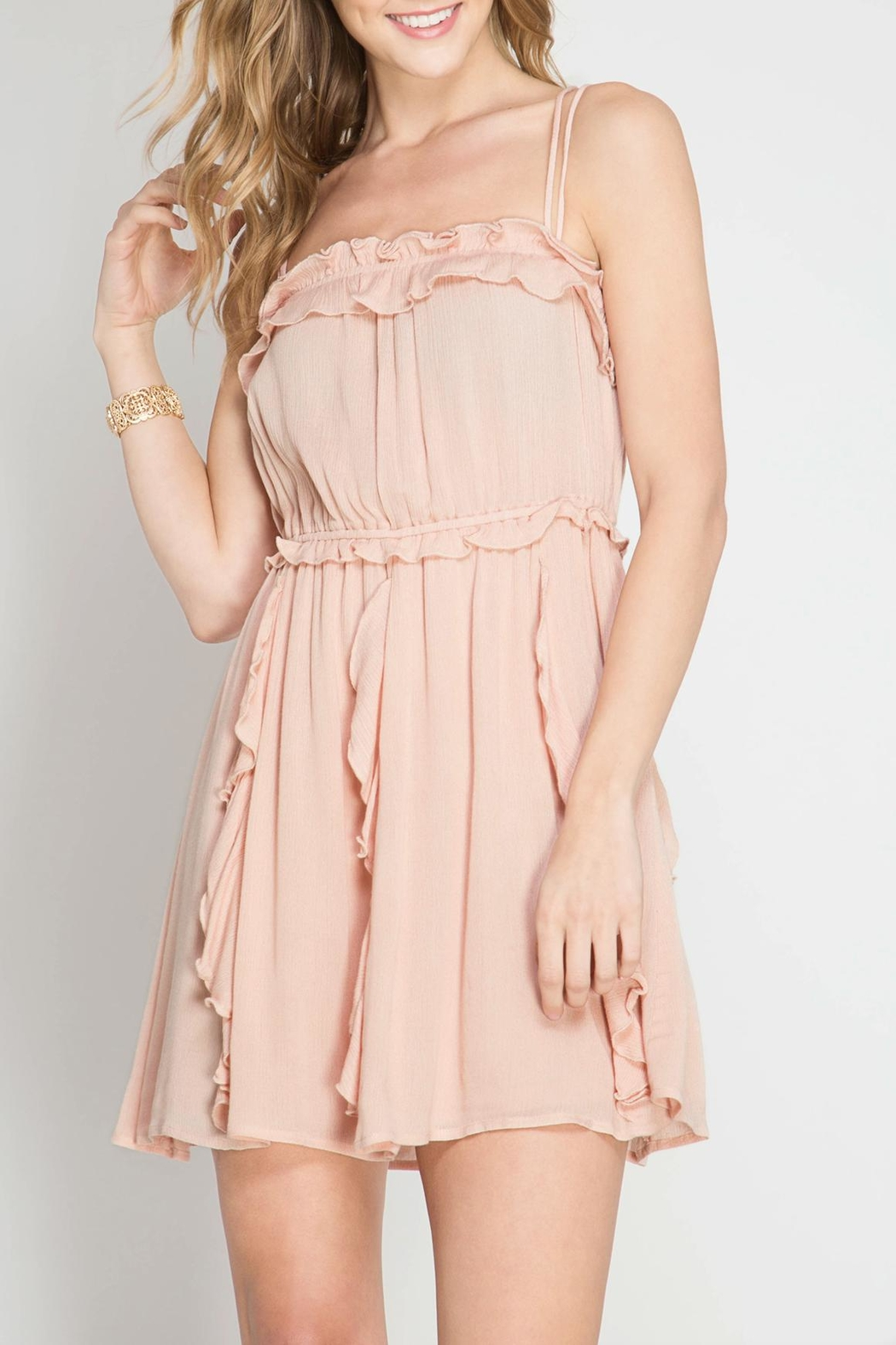 She + Sky Romantic Night Dress - Front Cropped Image