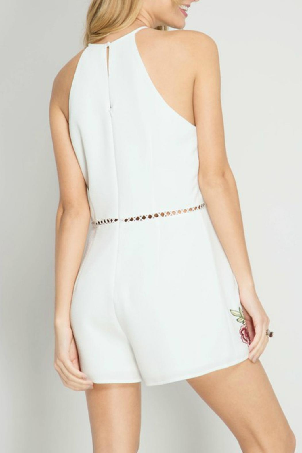 She + Sky Rose Embroidery Romper - Front Full Image