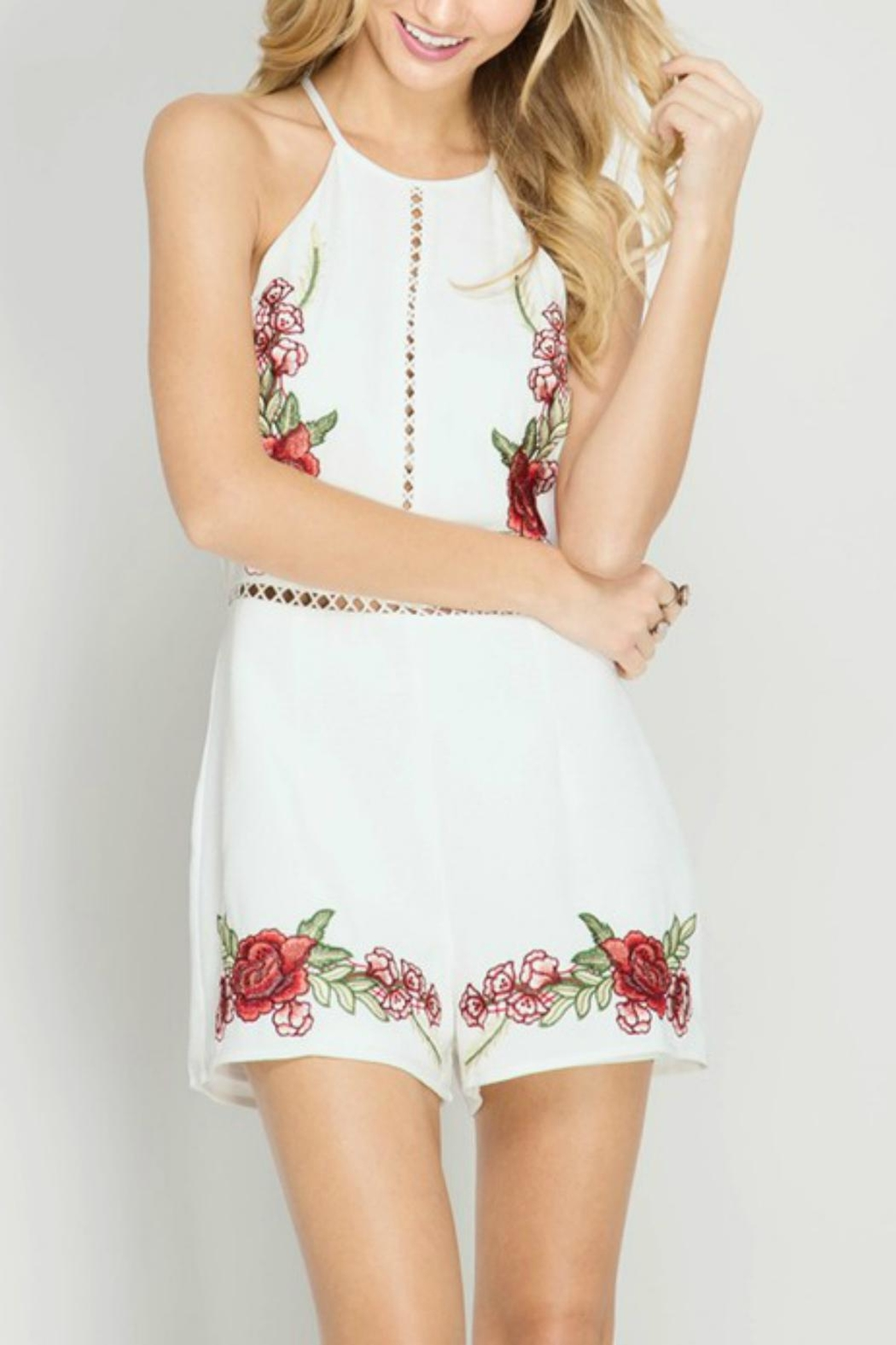 She + Sky Rose Embroidery Romper - Main Image