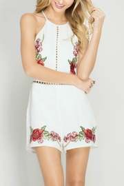 She + Sky Rose Embroidery Romper - Front cropped